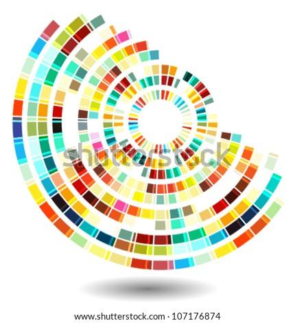 techno style abstract shape illustration - stock vector