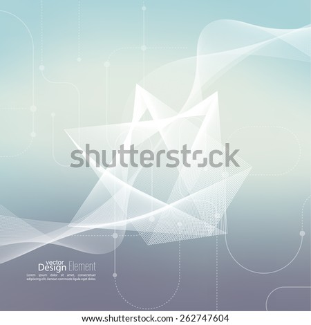 Techno vector abstract background with soft lines. scheme lines and dots. Cyberspace. For cover book, brochure, flyer, poster, magazine, cd cover, website, app mobile, annual report - stock vector