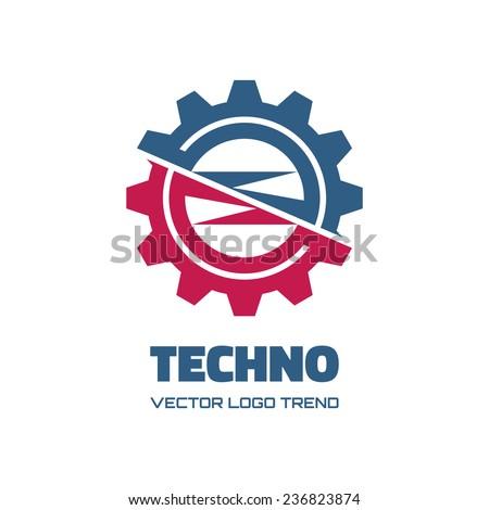 Techno - vector logo concept illustration. Gear logo. Factory logo. Technology logo. Mechanical logo. Vector logo template. Design element.  - stock vector