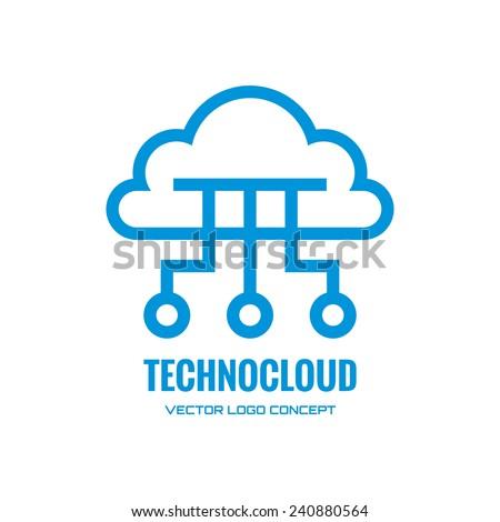 Technocloud - vector logo concept illustration. Cloud logo. Vector logo template. Design element.  - stock vector