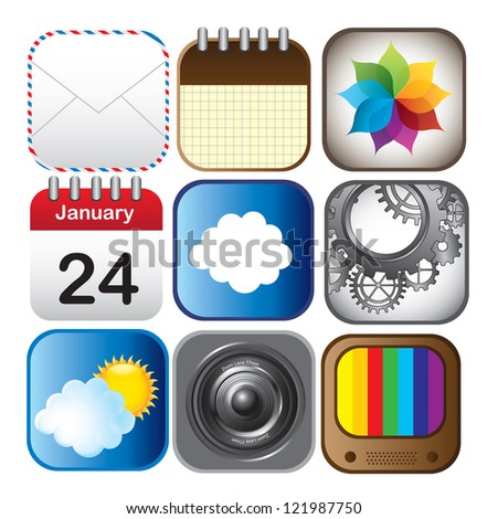 technological application icons over white background vector illustration - stock vector