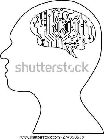 Technological brains . Vector eps10.silhouette of the head and  brain. process of human thinking. The concept of intelligence. People communication with the outside world. - stock vector