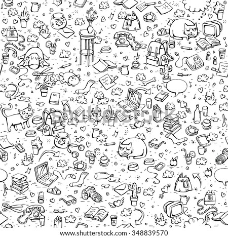 Technological Everyday Objects seamless pattern in black and white. Collection of various isolated objects and pets. Illustration is eps8 vector. - stock vector