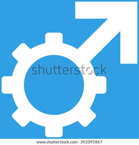 Technological Potence vector icon. Image style is flat technological potence pictogram symbol drawn with white color on a blue background.