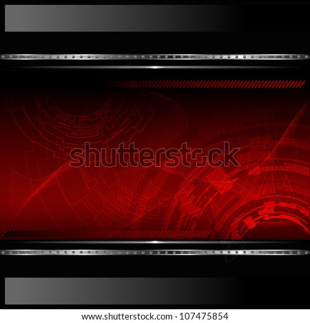 Technological red background with metallic banner. Vector illustration - stock vector
