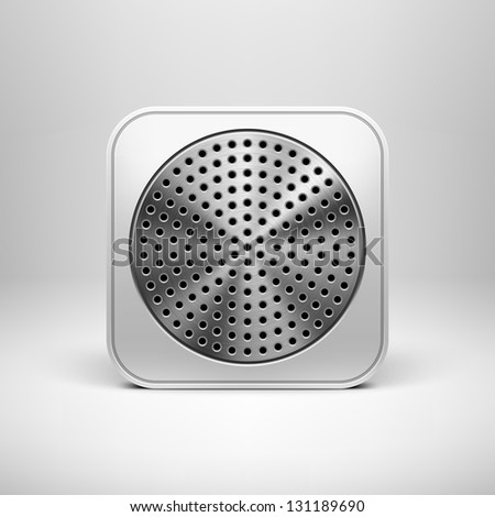 Technology app icon (button) blank template with circle perforated metal textured speaker grill, realistic shadow and light background for sites, web user interfaces (UI) and applications (apps). - stock vector