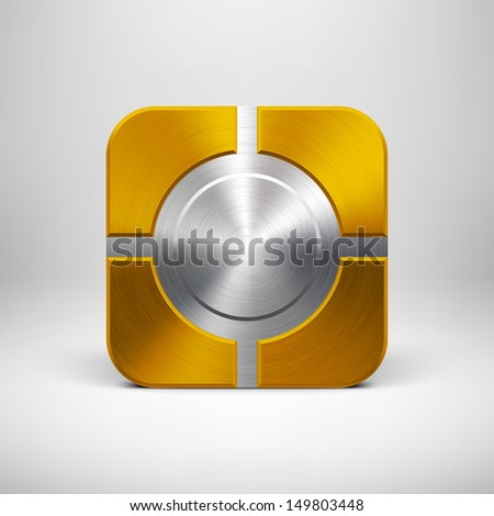Technology app icon (button) template with gold metal texture (chrome, silver, steel, bronze), shadow and light background for user interfaces (UI), applications (apps) and business presentations. - stock vector