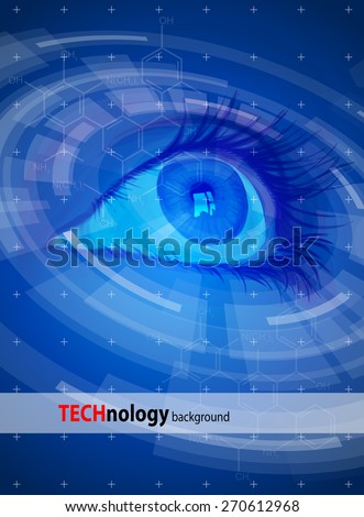 Technology back?round - Blue Eye, radial HUD elements. Vector illustration / Eps10 - stock vector