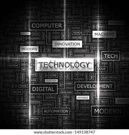 TECHNOLOGY. Background concept wordcloud illustration. Print concept word cloud. Graphic collage with related tags and terms. Vector illustration.