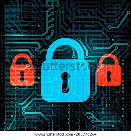 Technology background. Information storage. Data security. Stock Vector.