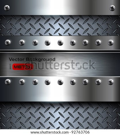 Technology background, metallic with screws. - stock vector