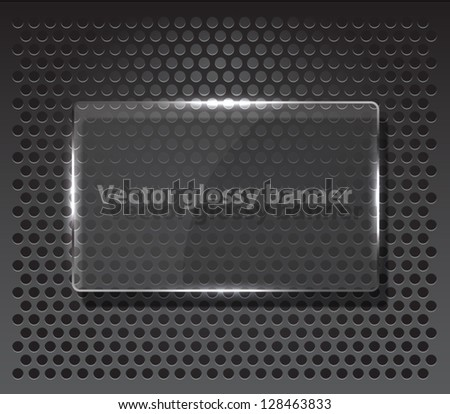 Technology background, shiny glossy banner over metallic pattern. techno, silver, metal, glass, chrome. Clean and modern style design
