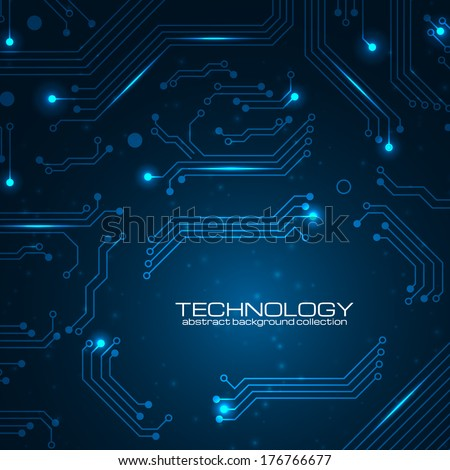 Technology background with circuit board elements. Vector illustration with space for your business text.