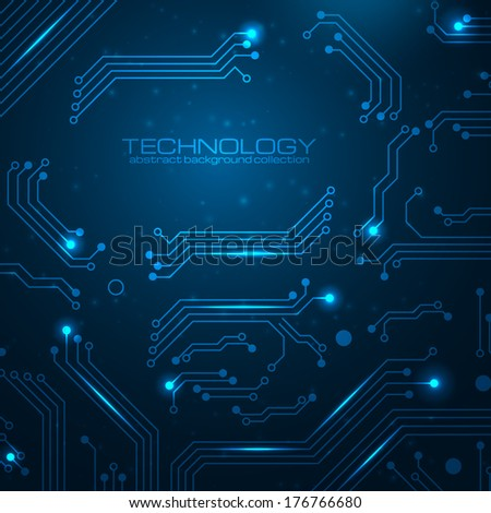 Technology background with circuit board elements. Vector illustration with space for your business text. - stock vector