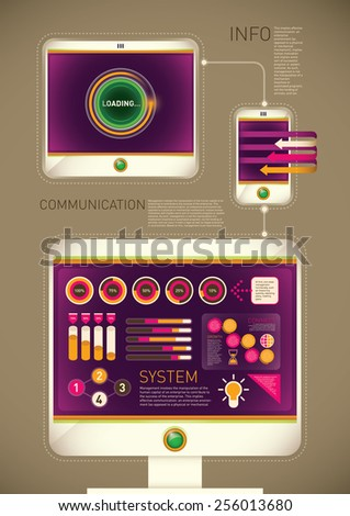 Technology background with computer and gadgets. Vector illustration. - stock vector