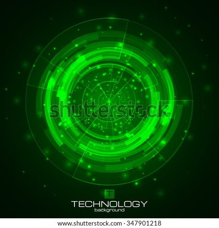 Technology background with HUD elements. Vector illustration for your artwork. - stock vector