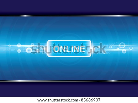 technology background with online button - stock vector