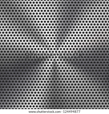 Technology background with seamless circle perforated metal (chrome, iron, stainless steel, silver) grill texture  for internet sites, web user interfaces (ui) and applications (apps). Vector Pattern.