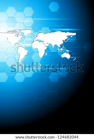 Technology background with world map. Vector design eps 10