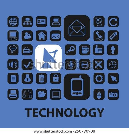 technology, big data, information flat icons, signs, illustrations design concept vector set - stock vector