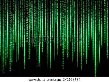 Technology binary background. Binary on green background. vector