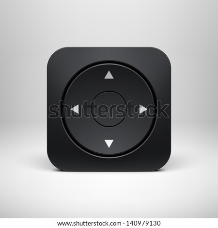 Technology black joystick app icon (button) template with realistic shadow and light background for user interfaces (UI), applications (apps) and business presentations. Vector illustration. - stock vector
