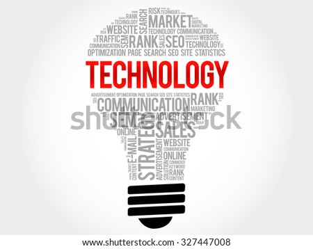 TECHNOLOGY bulb word cloud, business concept - stock vector