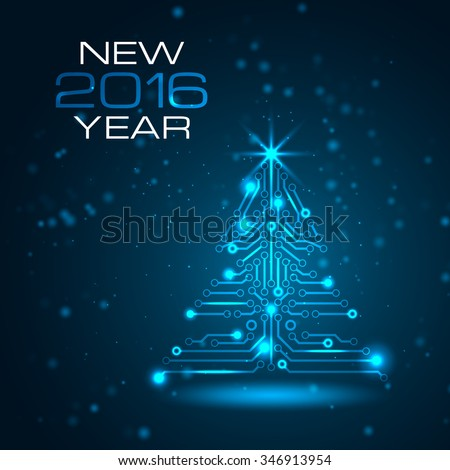 Technology Christmas tree. New Year background with space for your greetings. Vector illustration.