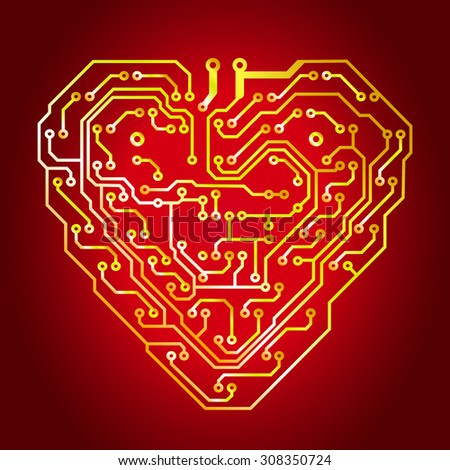 Technology circuit love heart background
