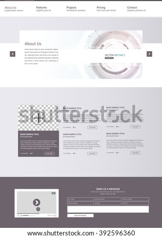 Technology Clean Website Template Vector Eps10, Modern Web Design with flat UI elements and abstract header. Ideal for Business layout.  - stock vector