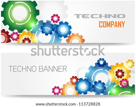 Technology Colorful Gears Banner - stock vector