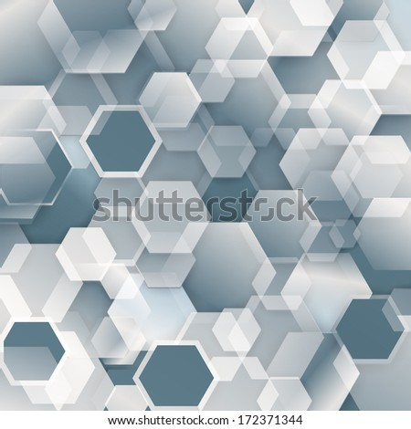 Technology concept abstract futuristic background with white shadowed hexagonal geometric design - stock vector