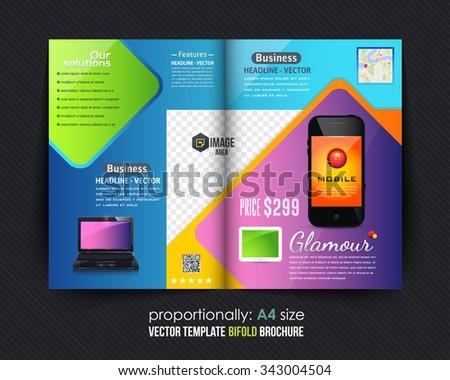 Technology Concept Bi-Fold Brochure Design. Corporate Leaflet, Cover Template - stock vector