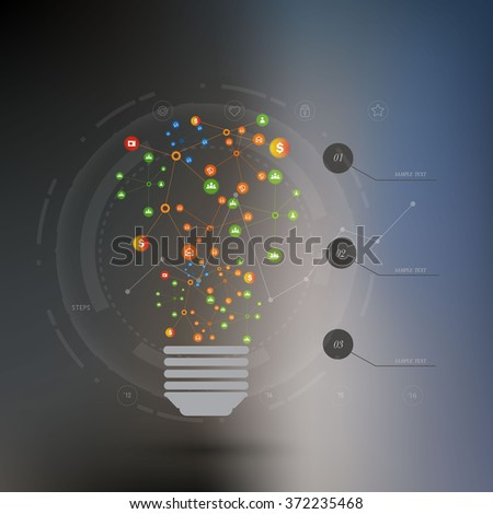 Technology connection concept. Abstract background with integrated circles and icons for digital, internet, network, connect, social media, global concepts. Vector infograph illustration. Flat design - stock vector