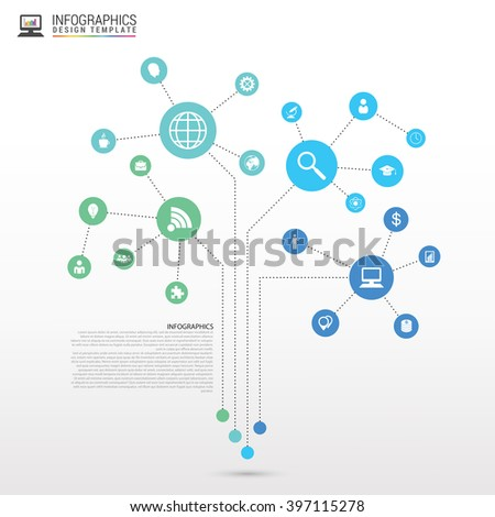 Technology connection concept. Abstract tree. Vector illustration - stock vector