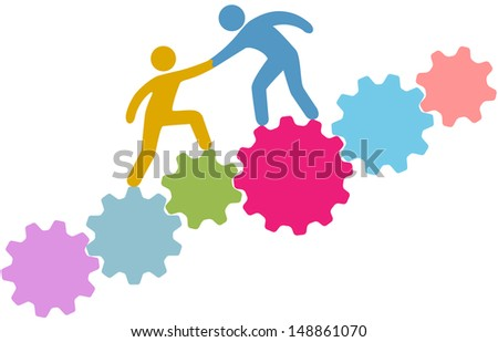 Technology consultant or recruiter helps person improve or join tech company - stock vector