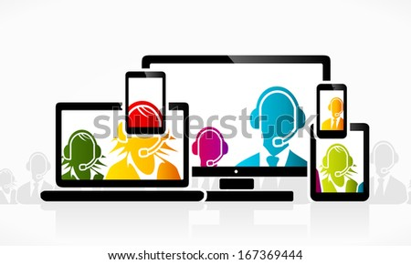 Technology customer service people - stock vector