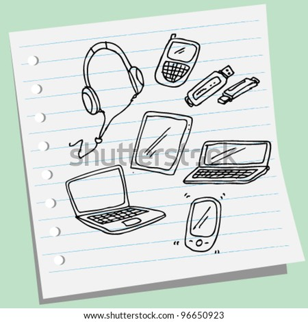Technology Design Elements doodle Vector Illustration Set - stock vector