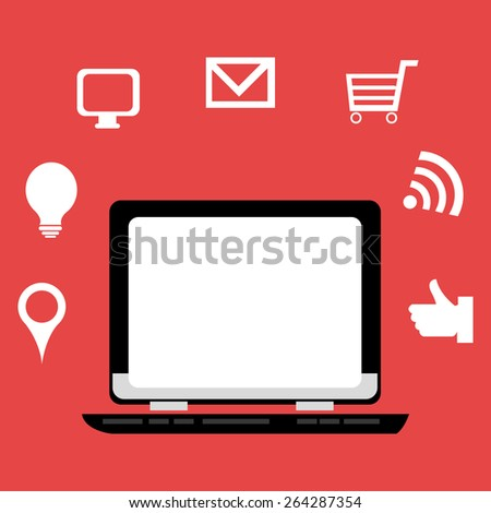 Technology design over red background, vector illustration.