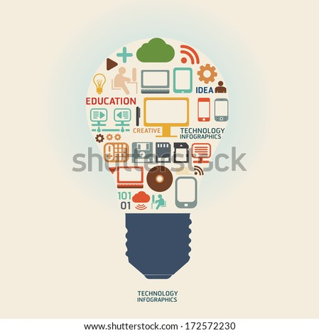 technology design  template / can be used for infographics /graphic or website layout vector - stock vector