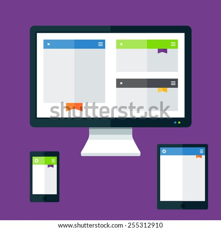 Technology devices set with screen display tablet and phone - stock vector