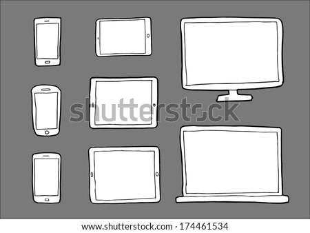 Technology devices - vector set sketch illustrations - stock vector