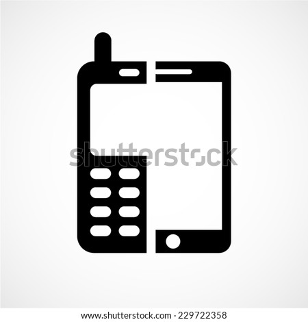 technology evolution, old versus new, cell phone vector icons - stock vector