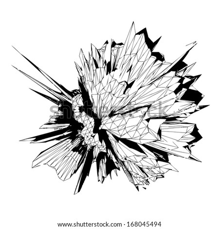 Technology explosion vector - 3D transparent vector object on white background - stock vector