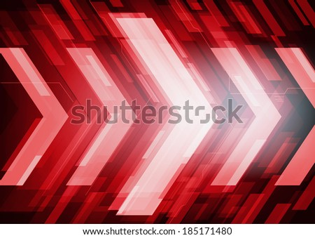 Technology future red arrows abstract vector background, moving forward concept - stock vector