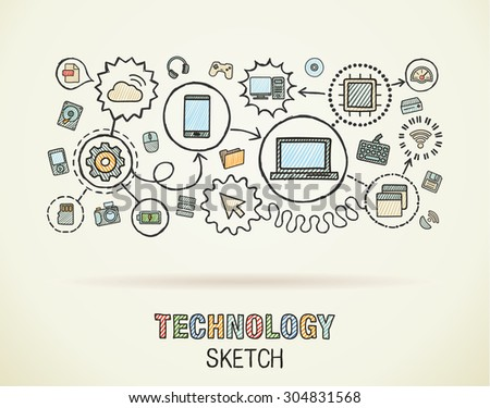 Technology hand draw integrate icons set on paper. Colorful vector sketch infographic illustration. Connected doodle pictograms: internet, digital, market, media, computer, network interactive concept