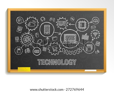 Technology hand draw integrate icons set on school board. Vector sketch infographic illustration. Connected doodle pictograms: internet, digital, market, media, computer, network interactive concept - stock vector