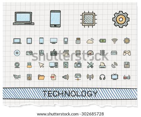 Technology hand drawing line icons. Vector doodle pictogram set: color pen sketch sign illustration on paper with hatch symbols: network, digital, internet, computer, laptop, social media, cloud - stock vector