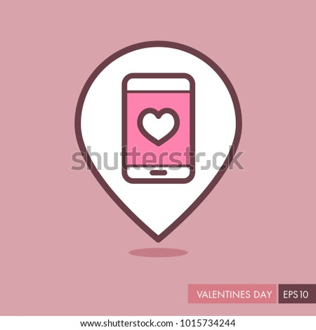 Technology Heart Smartphone Mobile Phone Romantic Telephone Call.  Valentines Day Pin Map Icon, Doodle