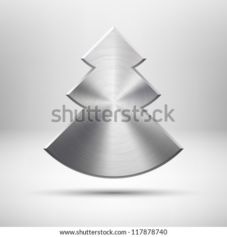 Technology icon (button) with Merry Christmas (new year) tree, metal texture (stainless steel, chrome), realistic shadow and light background for internet sites and web user interfaces (ui). Vector. - stock vector